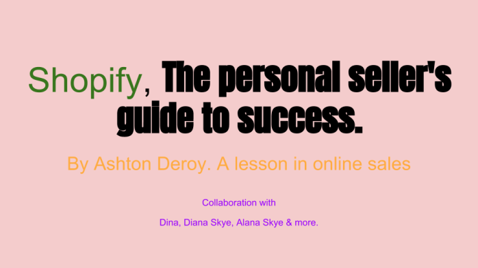 Shopify, The personal seller's guide to success.